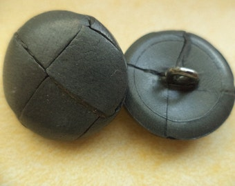 Leather button jacket buttons buttons 5 leather buttons grey 23 mm (6132)