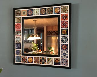 Decorative Mexican Talavera Tile Beveled Mirror in Classic Black Frame - 20 in. x 20 in. (FREE SHIPPING)