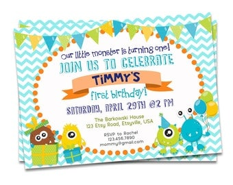 Monster Birthday Invitation Printable, Monster First Birthday Invitation, Monster Party, First Birthday Invitation, Monster Invitation