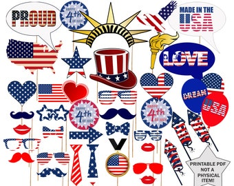 "Printable 4th of July Photo Booth Props: ""INDEPENDENCE DAY PROPS"" 4th of July party, July 4th Photobooth,Patriotic props,American photobooth"