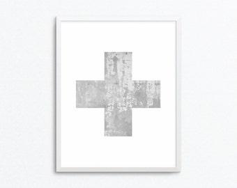 Swiss Cross Print, Scandinavian Print, Minimalist Art, Minimalist Printable, Minimalist Print, Scandinavian Poster, Minimalist Poster