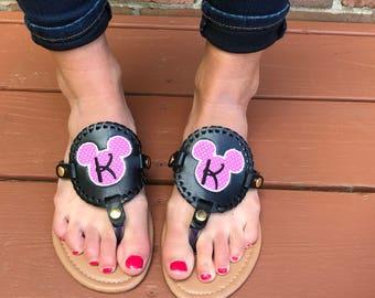 Monogram Disney Flip Flops / Polka Dot Flip Flops / Disney Shoes / Monogram Disney Shoes / Mickey Mouse Shoes / Minnie Mouse Shoes /