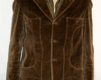 Casual Velvet Jacket, Corduroy Jacket & Vest, Dark Green Velvet Jacket, Size L, dark green, thin ribs, Cut 50 inner vest
