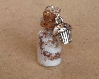 Necklace, chain pendant bottle with backingmix and muffin, cupcake