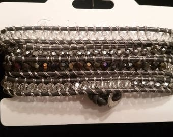 5 Wrap beaded bracelet / adjustable length/ Chan Luu look