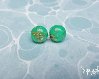 Green Gold Leaf Holographic Resin Hypoallergenic Stud Earrings Titanium Posts
