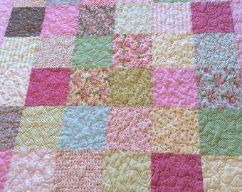 Handmade quilt for baby girl...yellow, pink, green and blue squares