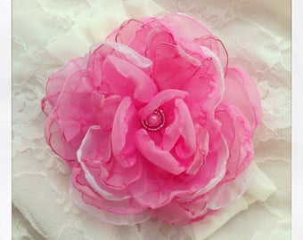 Bridal Flower tutorial Fabric flower TUTORIAL Barrette Headband Fabric Flower Tutorial DIY Fabric Flower Pattern Tutorial Cabbage Rose