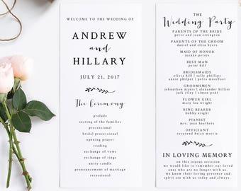 Wedding Program Ceremony Instant Download Printable DIY