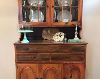 Vintage Distressed China Hutch/Buffet/Server/Cabinet