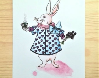 Tea time with the White Rabbit, Alice in Wonderland, watercolor illustration, print, wall decor, nursery decor