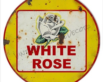 """Reproduction """"White Rose"""" Gas/Oil Metal Sign (Rusted)"""