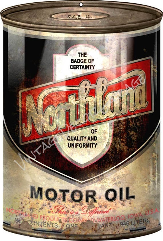 reproduction northland motor oil metal can