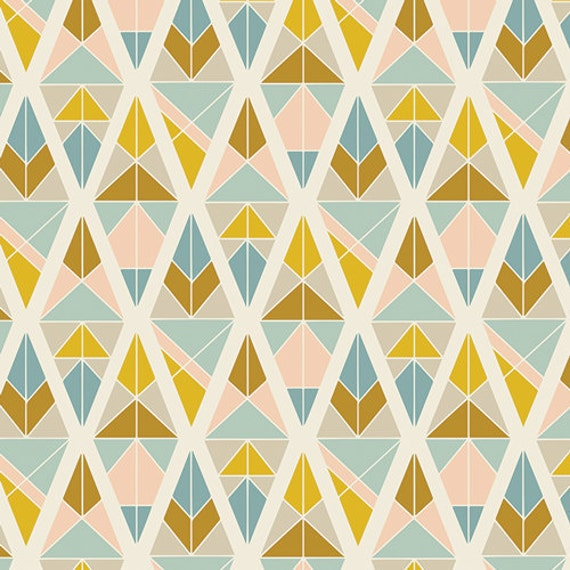 GARDEN DREAMER by Maureen Cracknell for Art Gallery Fabrics - One Yard - Diamond Fragments Gold - Fabric by the Yard - Art Gallery Fabrics