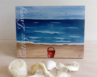 Beautiful box 100% Beach painting, for a cottage decor