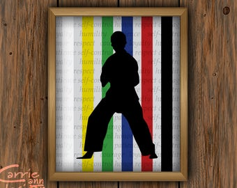 Karate Silhouette home decor, printable download, belt color