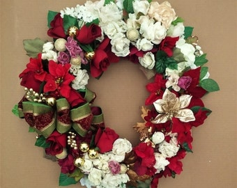 Christmas Wreath-The HOLIDAY IN BLOOM Wreath-Holiday Wreath-Large Christmas Wreath-Christmas Rose Wreath-Christmas Decorations-Rose Wreath