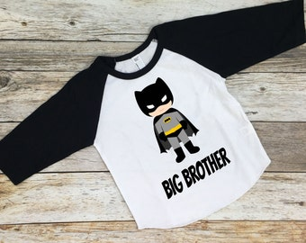 Big Brother Batman Shirt. Boys Superhero Shirt. Toddler Boys Superhero Shirt. Big Brother. Batman.