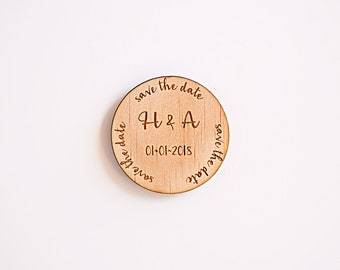 Wooden Save the Date Magnets and Tags