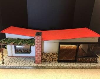 Mortiz Gottschalk Vintage German Dollhouse | Rare MCM 1963 Butterfly Roof Bungalow | Pergola, Fireplace, Mosaic Tile | Mid Century Modern