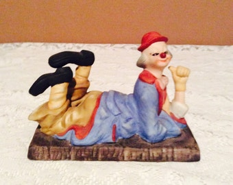 Colorful clown figurine, playful laying down clown figurine, vintage collectible ceramic clown by Brinn's Pittsburgh PA.