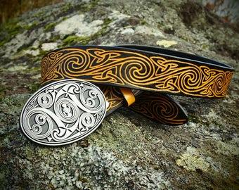 celtic spiral belt, knot belt, viking leather belt
