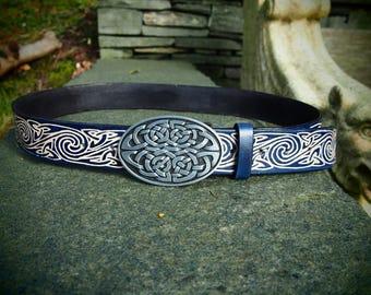 viking belt, norse belt, celtic spiral belt, knot belt, viking leather belt