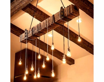 5 foot Reclaimed Wood beam Chandelier