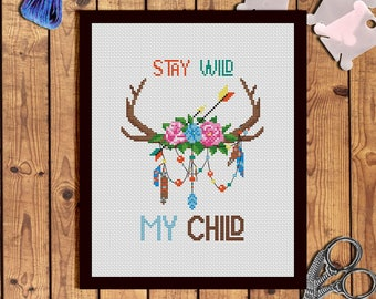 Boho stay wild cross stitch pattern Deer cross stitch pattern Antlers with flowers Feathers cross stitch Arrows Antler embroidery design