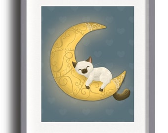 Cat on Moon Nursery Print, cute cat wall print, cute cat nursery decor, cute digital art, cute unique kids wall art with Instant Download