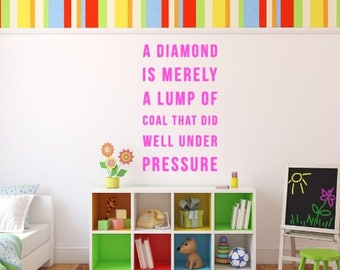A Diamond Is Merely A Lump Of Coal Wall Decal, Choose From Many Colours and Sizes
