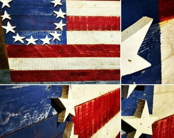 Flag wall art  - Betsy Ross - 13 stars - very large wall art - Pallet wall art - American - Not 50 stars