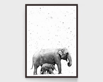 Elephant Print, Black and White, African Wall Art, Mother and Child, 20x30, Large, Nursery Decor, Kids Room Decor, Photo, Elephant Poster