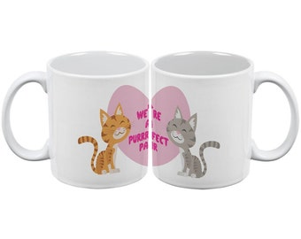 Valentine's Day Cats in Love Purrrfect Perfect Pair All Over Coffee Mug Set of 2