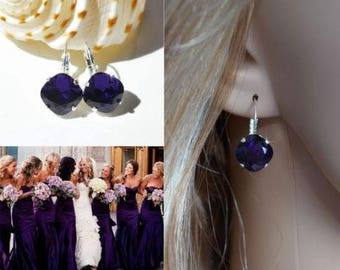 Handmade Swarovski Purple Velvet Crystal Fancy Square Radiant Cut Leverback Dangle Earrings, Bridal, Wedding (Sparkle-2626-PV)