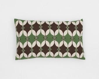 Selin Handscreen Printed Cushion Cover - Bottle Green / Chocolate Brown 30x50cm