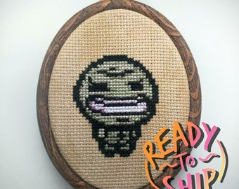 "Binding of Isaac Envy Cross Stitch in 3.5"" Oval Hoop"