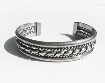Triple Twist •  Vintage Navajo Handmade Sterling Rope Cuff  - TAHE