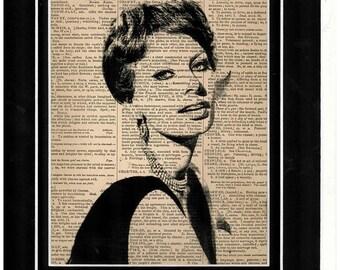 112 Sophia Loren art on antique dictionary paper