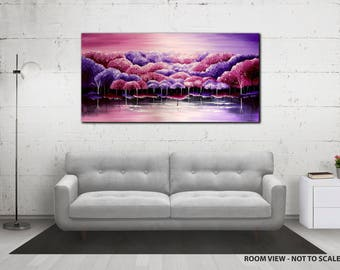 """ORIGINAL KNIFE PAINTING abstract 40"""" textured landscape/forest, purple, pink, white"""