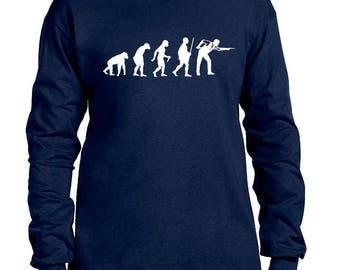 Men's Long Sleeve Shirt Evolution Pool Snooker 8 Ball Game Humor Funny Print Graphic Long Sleeve Shirt