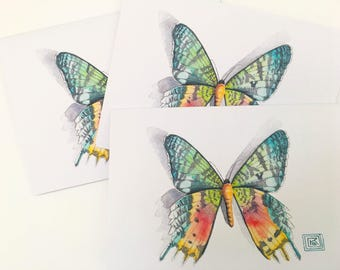 Watercolor butterfly greeting cards, set of 8 cards and envelopes, watercolor greeting cards, printed original artwork,watercolor cards
