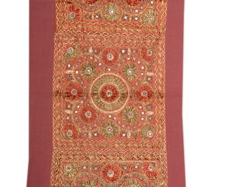 Indian Mirror Work Hand Embroidery wall tapestry/Gypsy bohemian tribal handmade wall curtain/banjara style wall hanging 02