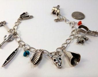 80s / Native American / Sterling Silver Charm Bracelet / Silver Charm Bracelet / Mexican Silver/ Sterling Charm Bracelet / Tribal / Bohemian
