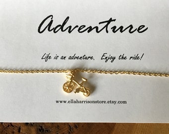 Bicycle Charm, Bicycle Pendant Necklace; adventure, wanderlust sentiment, quote, gift for her, travel gift, charm necklace, sister gift