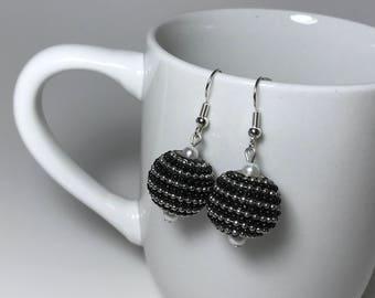 Black Earrings, Silver Earrings, Black and Silver Earrings, White Earrings, White Pearl Earrings