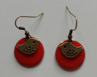 Red bird sequin earrings
