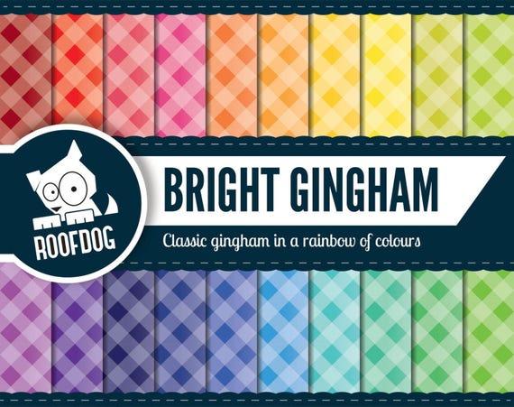 gingham pattern rainbow digital paper instant download digital