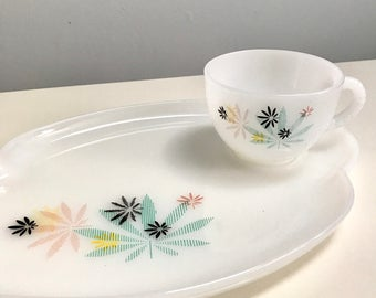 Set of Vintage White ware Pot Leaf Snack Set Dishes