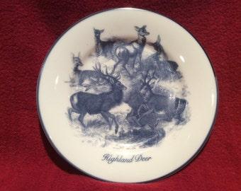 "Norfolk China Blueware Highland Deer Tea Plate 6 5/16"" diameter"